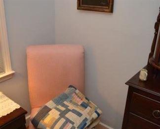 pink chair, handmade quilt, sea captain