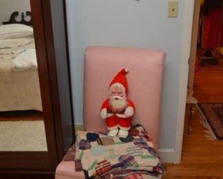 matching pink chair, quilt, Santa