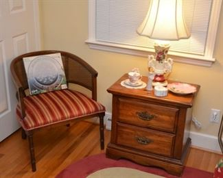 side chair and nightstand, lamp, cup and saucer