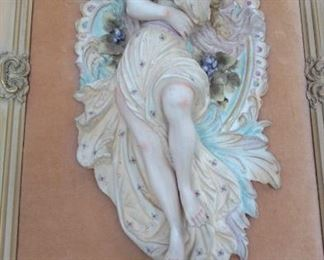 Pair framed porcelain bisque relief embracing couple, Capodimonte stye