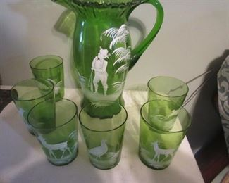 Mary Gregory pitcher and 6 glasses