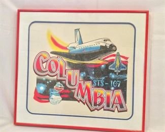 "NASA Space Shuttle Columbia STS-107 Artwork, 21"" x 18""."