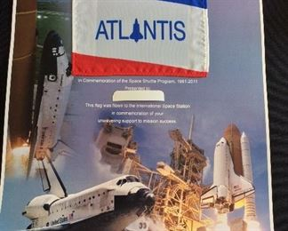 NASA Space Shuttle Commemorative Poster with Space Shuttle Atlantis Flag Flown to the International Space Station.