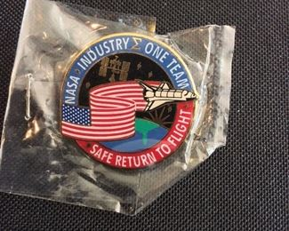 """NASA and Industry Space Shuttle Pin, """"Safe Return to Flight""""."""