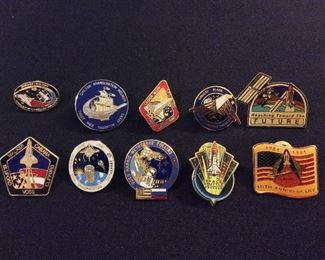 NASA Space Shuttle Mission Pins.