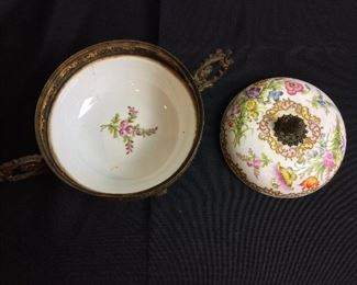 """Antique Brass and Porcelain Footed Bowl, Depose, 6 1/2"""" H."""
