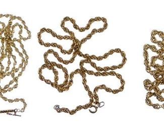 14k Gold Twisted Rope Necklace Assortment