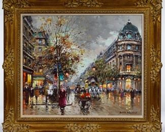 Antoine Blanchard European 1910 1988 Theatre du Vaudeville Oil on Canvas