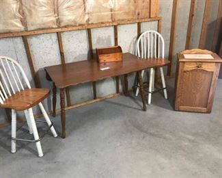 48 Inch Drop Leaf Table, Two Stools, and Small Storage Cabinet