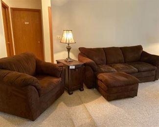 Brown Microfiber Sofa, Chair, Ottoman, End Table, and Lamp