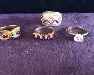 14k Semi Precious Jeweled Rings