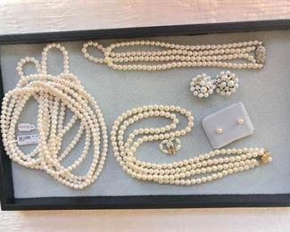 100 Inch Pearl Necklace and Cluster Earrings