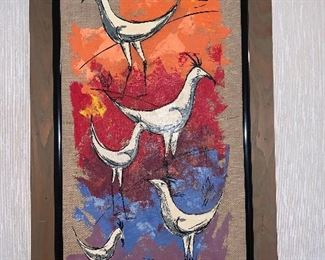 Chickens on linen oil on canvas By Van Lowe