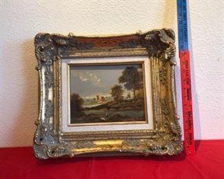 Copper painting with wooden frame