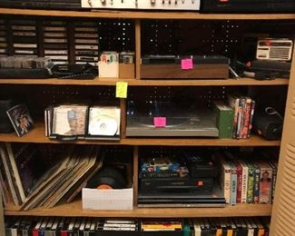 Stereo components, record albums, VHS tapes