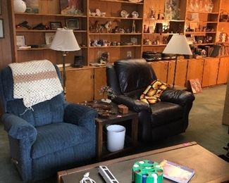 recliners, lamps, coffee table, household items and decor