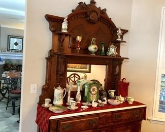 Eastlake marble top, various Limoges pieces and clock