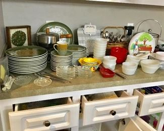Syracuse vintage dishes, Fire King, pyrex, silverware