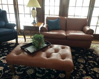 Ethan Allen Leather Love Seat & Tufted Ottoman / Coffee Table