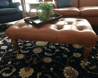 Ethan Allen Tufted Leather Ottoman / Coffee Table