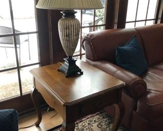 Ethan Allen Side Table, Lamp