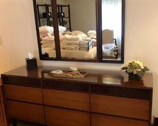 Mid Century Modern John Stuart  Mount Airy Bedroom Set: Walnut Dresser - Credenza w/ Mirror, Chest of Drawers, Side Table & Headboard