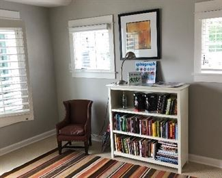 another bookcase for sale  wonderful rug and child sized wing back