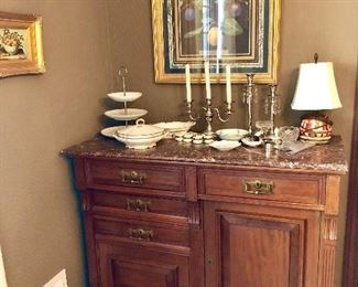 1880's Buffet with Marble top and velvet lined silverware drawer.  Excellent condition