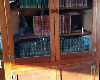Corner cabinet and Harvard Classics (50 vol.)