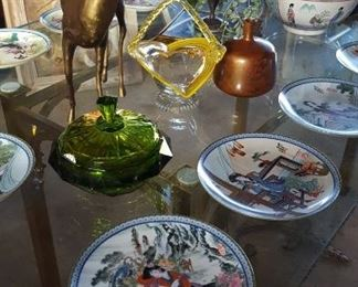 Set of 12 Japanese collector plates, large brass deer