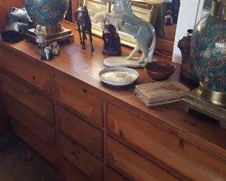 Mid-century pine dresser & mirror