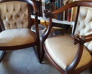 Mahogany parlor chairs w/carved lion heads