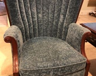 Pair of French Blue Channel Back Chairs