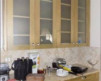 Kitchen Cabinets with Glass Doors and Granite Tops
