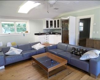 Family Room with Modern sofa set, Wet Bar and Subzero Wine Cooler