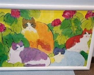 Large Cat and Flower Print