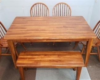 Dining Set with 4 Chairs and Bench