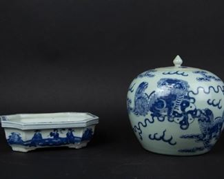 A Blue White Bixie Ginger Jar together with a