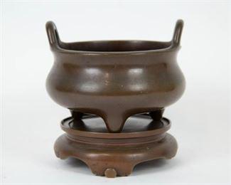 A Bronze Tripod Censer and Stand