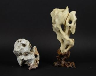 A Calico Lingbi Scholars Stone together