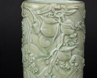 A Carved Celadon Glazed Brush Pot