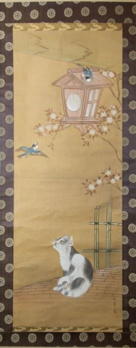 A Japanese Hanging Cat Scroll