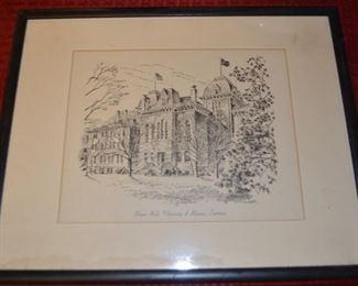 Frazer Hall, University of Kansas, Original / Framed Engraving
