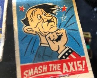 Adolph Hitler cartoon on 1940's matchbook!