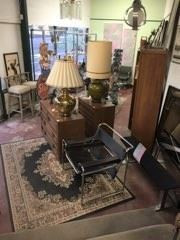 Lamps, a chair, rug, and other goodies.