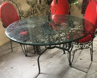Spanish style iron & glass table & 4 chairs
