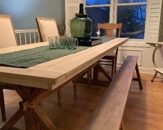 Custom trestle table and bench