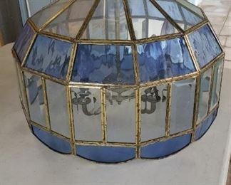 Vintage bevel glass lamp heavy