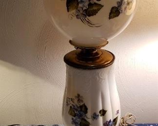 Vintage hand painted milk glass lamp