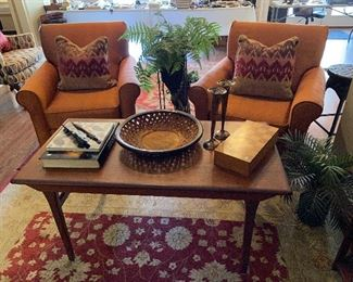 Pair of club chairs and unique coffee table.